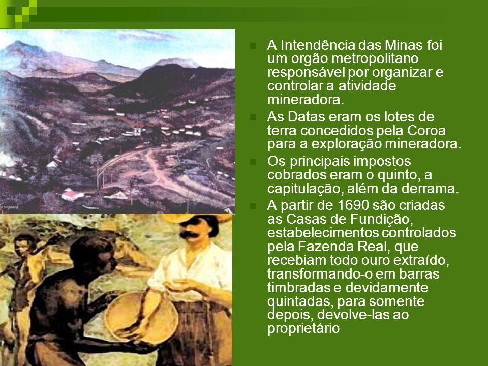 A Intendência das Minas foi um orgão metropolitano responsável por organizar e controlar a atividade mineradora. As Datas eram os lotes de terra conce
