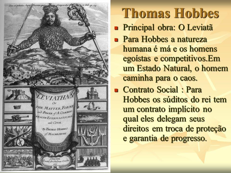 Thomas Hobbes Principal obra: O Leviatã Principal obra: O Leviatã Para Hobbes a natureza humana é má e os homens egoístas e competitivos.Em um Estado