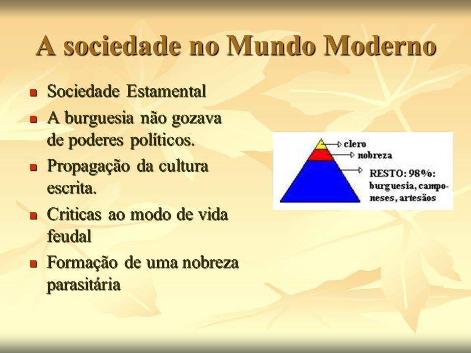 A sociedade no Mundo Moderno Sociedade Estamental Sociedade Estamental A burguesia não gozava de poderes políticos. A burguesia não gozava de poderes