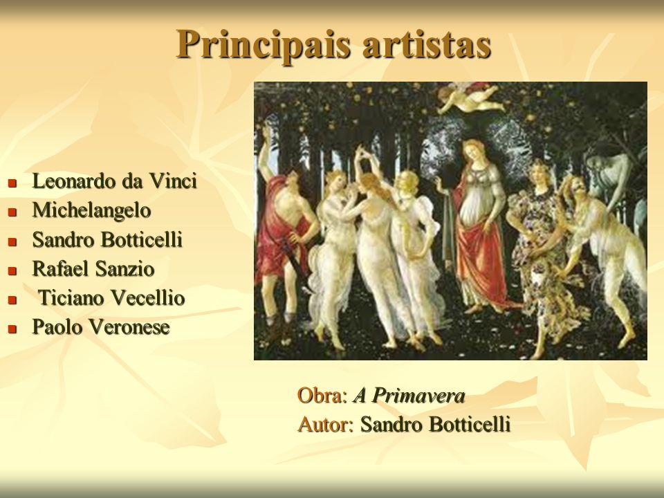 Principais artistas Leonardo da Vinci Leonardo da Vinci Michelangelo Michelangelo Sandro Botticelli Sandro Botticelli Rafael Sanzio Rafael Sanzio Tici