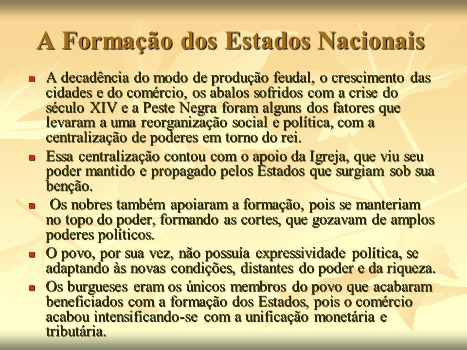 A Formação dos Estados Nacionais A decadência do modo de produção feudal, o crescimento das cidades e do comércio, os abalos sofridos com a crise do s