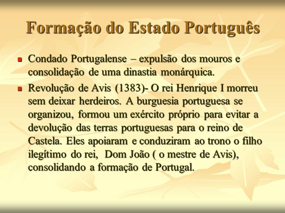 Formação do Estado Português Condado Portugalense – expulsão dos mouros e consolidação de uma dinastia monárquica. Condado Portugalense – expulsão dos