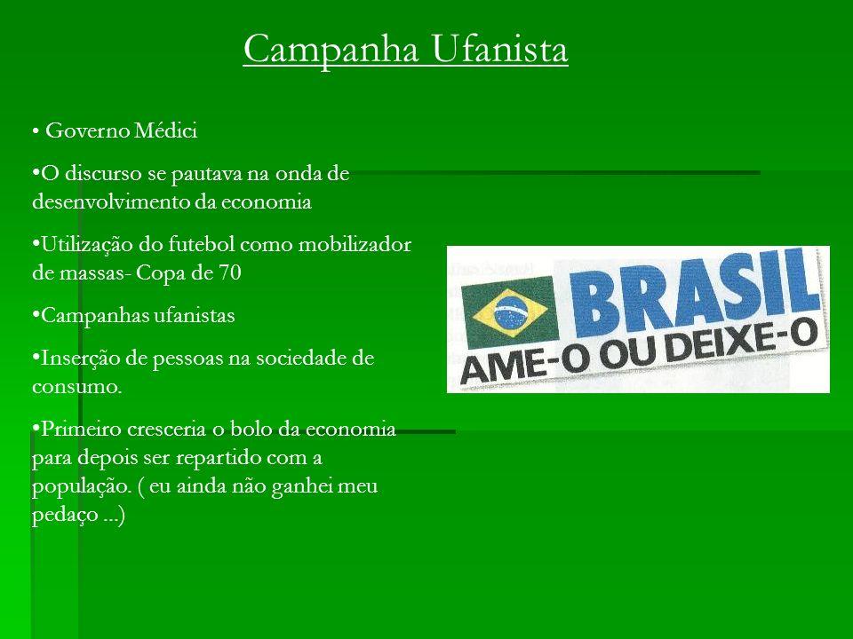 Campanha Ufanista Governo Médici O discurso se pautava na onda de desenvolvimento da economia Utilização do futebol como mobilizador de massas- Copa d