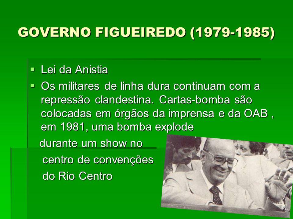 GOVERNO FIGUEIREDO (1979-1985) GOVERNO FIGUEIREDO (1979-1985) Lei da Anistia Lei da Anistia Os militares de linha dura continuam com a repressão clandestina.