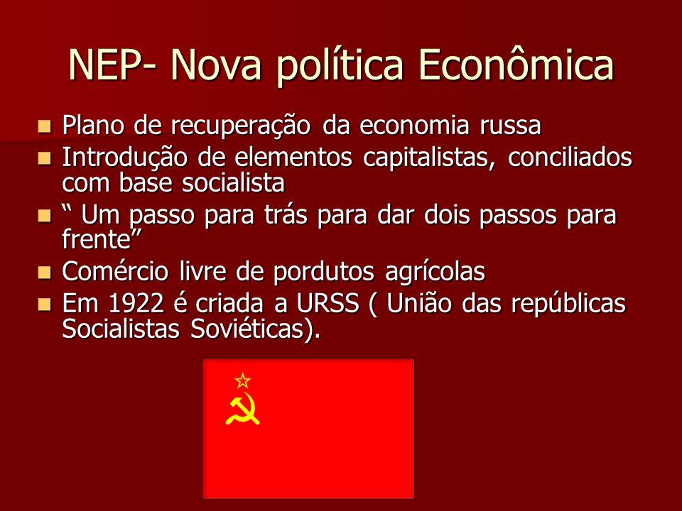 NEP- Nova política Econômica Plano de recuperação da economia russa Plano de recuperação da economia russa Introdução de elementos capitalistas, conci