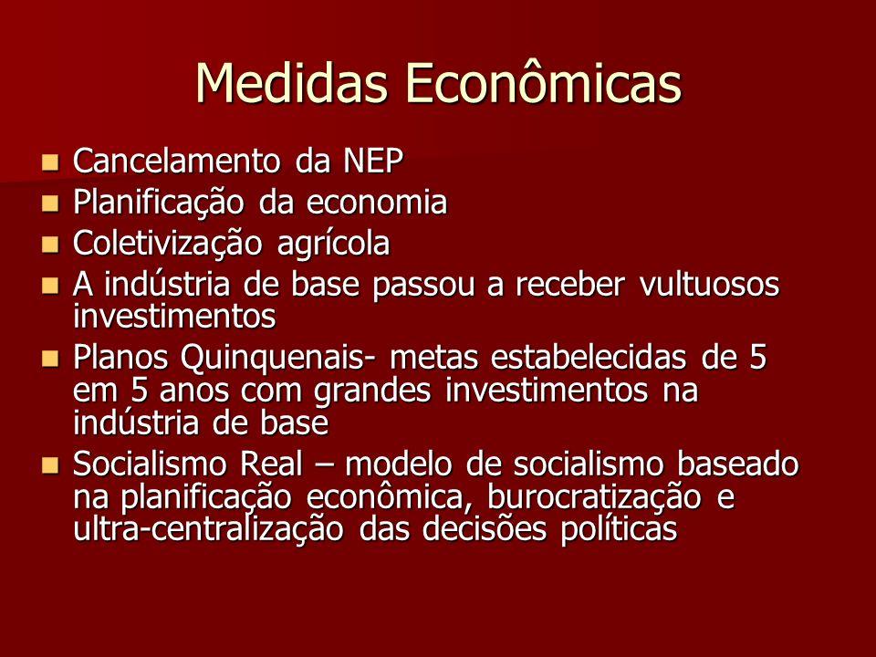 Medidas Econômicas Cancelamento da NEP Cancelamento da NEP Planificação da economia Planificação da economia Coletivização agrícola Coletivização agrí