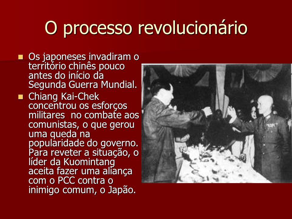 O processo revolucionário Os japoneses invadiram o território chinês pouco antes do início da Segunda Guerra Mundial. Os japoneses invadiram o territó