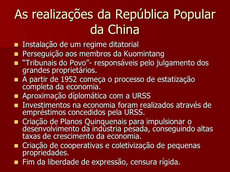 As realizações da República Popular da China Instalação de um regime ditatorial Instalação de um regime ditatorial Perseguição aos membros da Kuominta