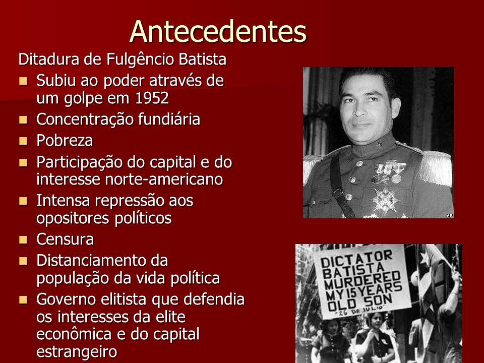 Antecedentes Ditadura de Fulgêncio Batista Subiu ao poder através de um golpe em 1952 Subiu ao poder através de um golpe em 1952 Concentração fundiári
