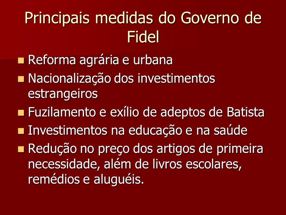 Principais medidas do Governo de Fidel Reforma agrária e urbana Reforma agrária e urbana Nacionalização dos investimentos estrangeiros Nacionalização