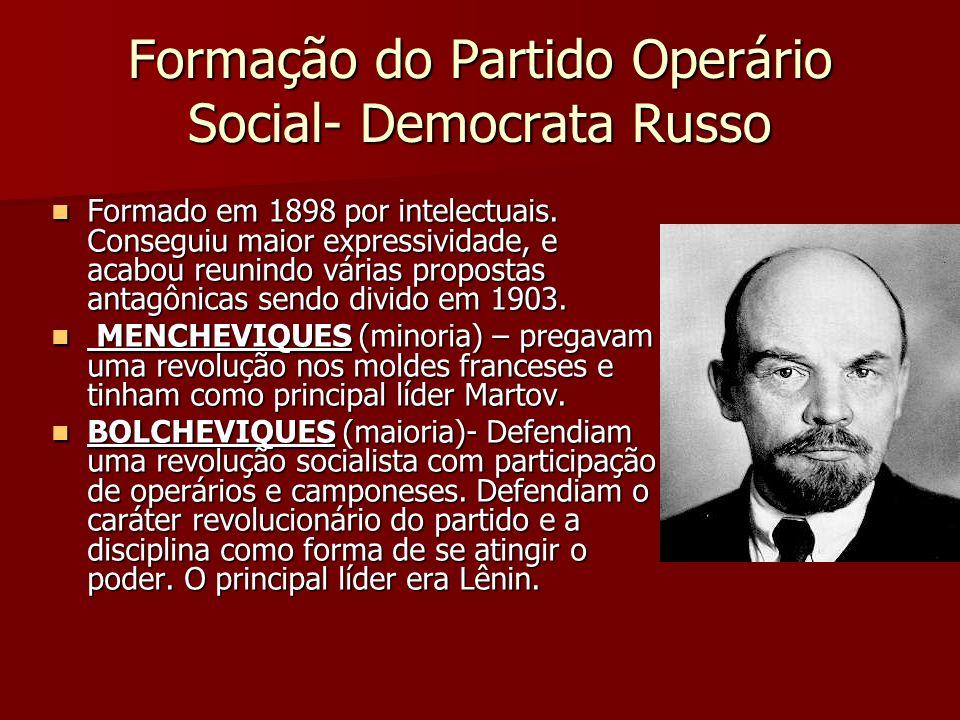 Formação do Partido Operário Social- Democrata Russo Formado em 1898 por intelectuais. Conseguiu maior expressividade, e acabou reunindo várias propos