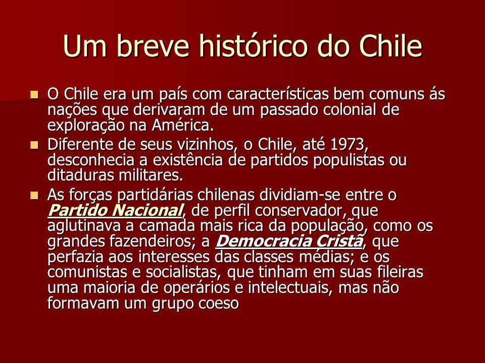 Um breve histórico do Chile O Chile era um país com características bem comuns ás nações que derivaram de um passado colonial de exploração na América