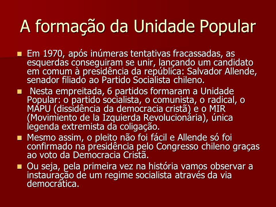 A formação da Unidade Popular Em 1970, após inúmeras tentativas fracassadas, as esquerdas conseguiram se unir, lançando um candidato em comum à presid