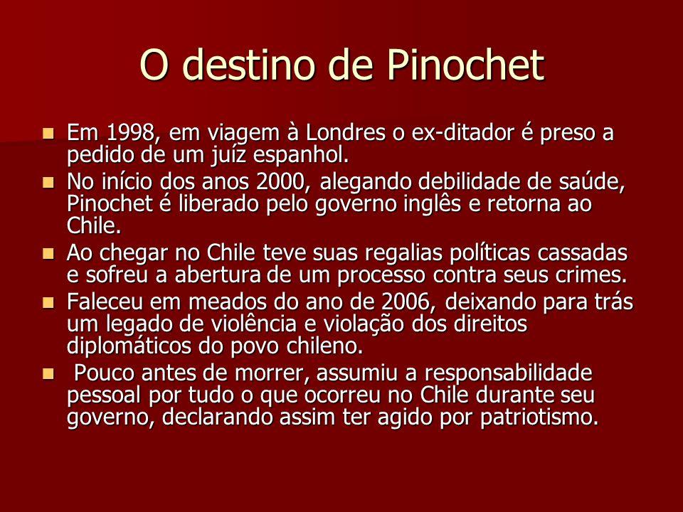 O destino de Pinochet Em 1998, em viagem à Londres o ex-ditador é preso a pedido de um juíz espanhol. Em 1998, em viagem à Londres o ex-ditador é pres