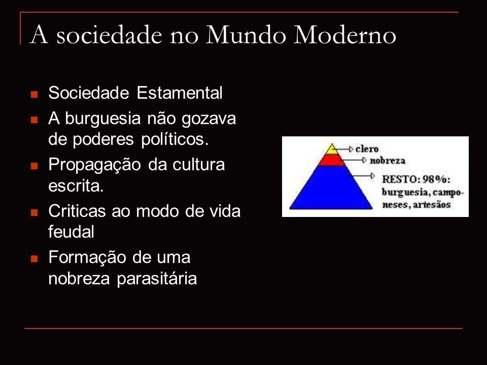A sociedade no Mundo Moderno Sociedade Estamental A burguesia não gozava de poderes políticos. Propagação da cultura escrita. Criticas ao modo de vida