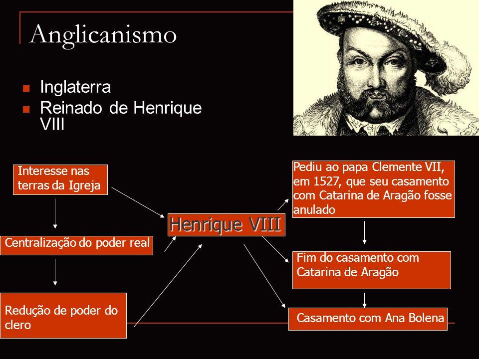 Anglicanismo Inglaterra Reinado de Henrique VIII Henrique VIII Interesse nas terras da Igreja Fim do casamento com Catarina de Aragão Pediu ao papa Cl