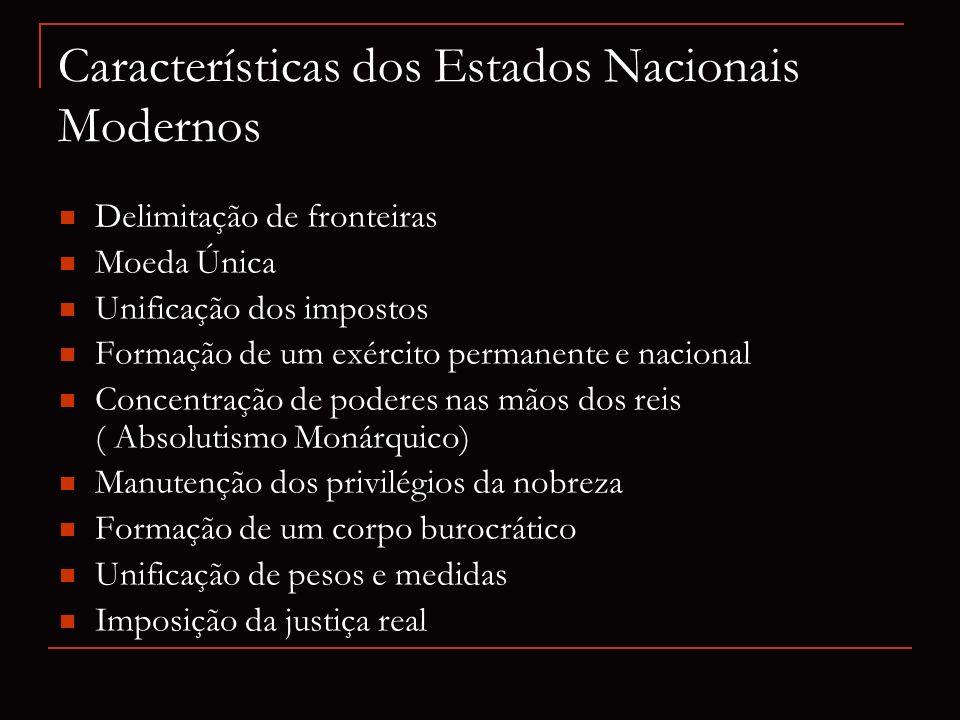 Delimitação de fronteiras Moeda Única Unificação dos impostos Formação de um exército permanente e nacional Concentração de poderes nas mãos dos reis