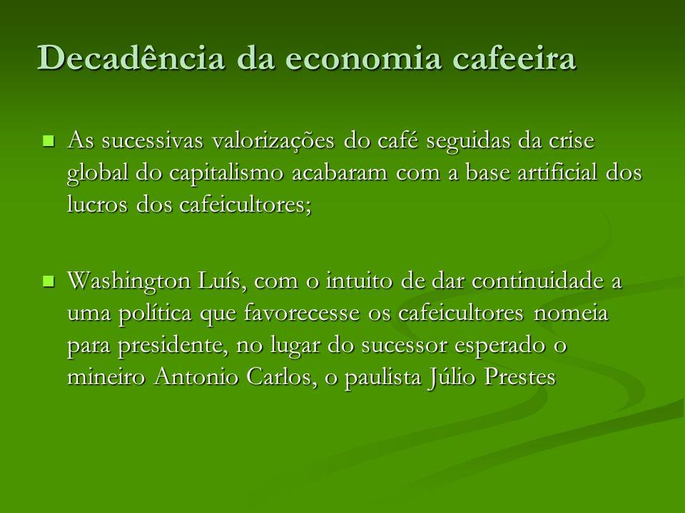 Decadência da economia cafeeira As sucessivas valorizações do café seguidas da crise global do capitalismo acabaram com a base artificial dos lucros d