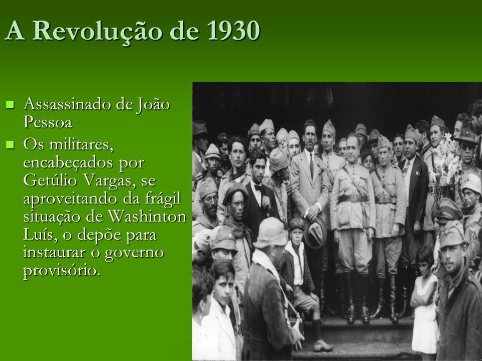 A Revolução de 1930 Assassinado de João Pessoa Assassinado de João Pessoa Os militares, encabeçados por Getúlio Vargas, se aproveitando da frágil situ