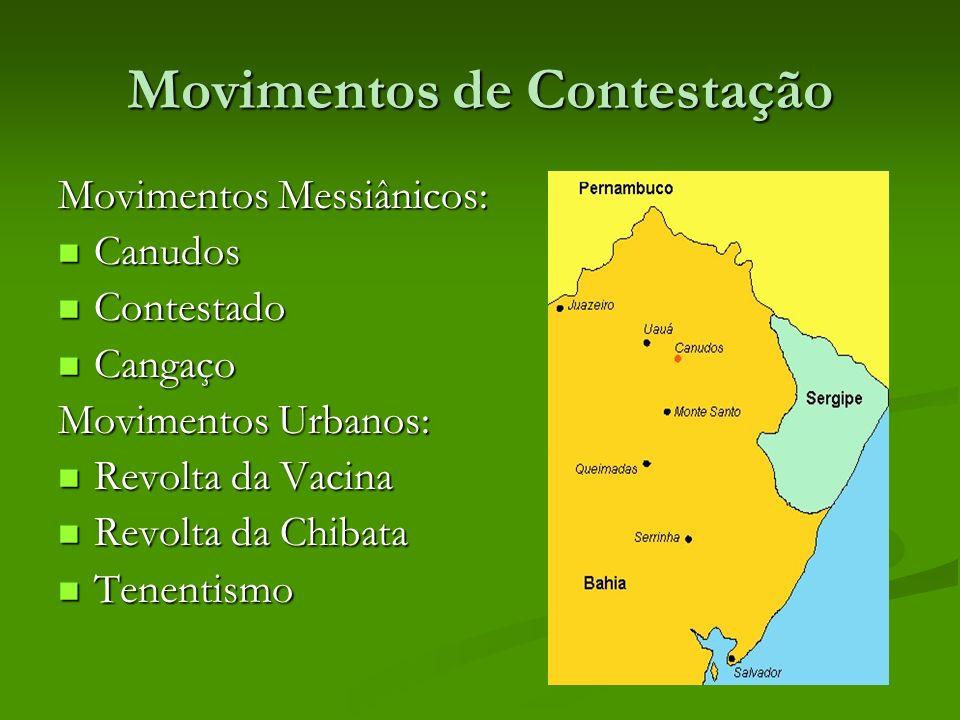Movimentos de Contestação Movimentos Messiânicos: Canudos Canudos Contestado Contestado Cangaço Cangaço Movimentos Urbanos: Revolta da Vacina Revolta