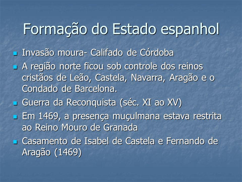 Formação do Estado espanhol Invasão moura- Califado de Córdoba Invasão moura- Califado de Córdoba A região norte ficou sob controle dos reinos cristão