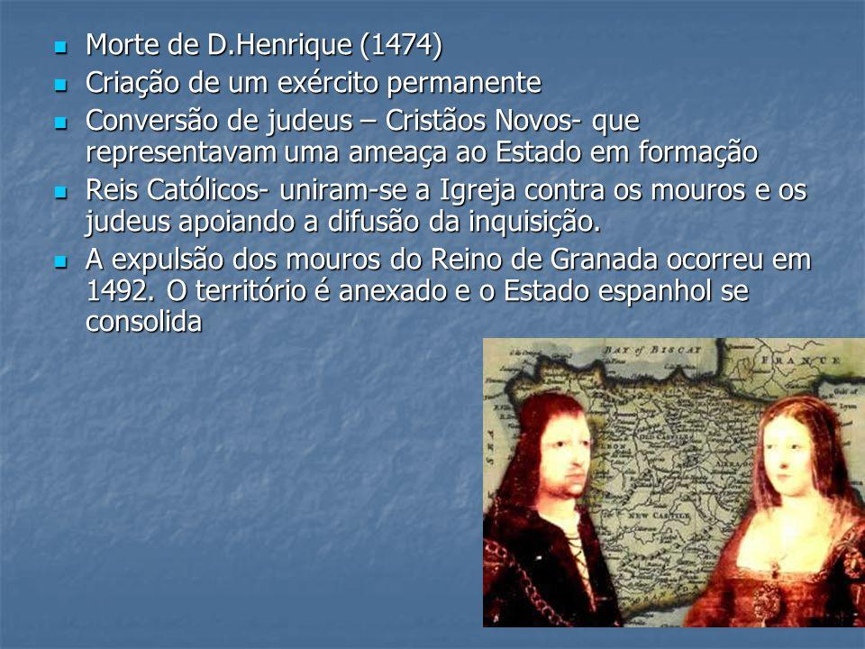 Morte de D.Henrique (1474) Morte de D.Henrique (1474) Criação de um exército permanente Criação de um exército permanente Conversão de judeus – Cristã