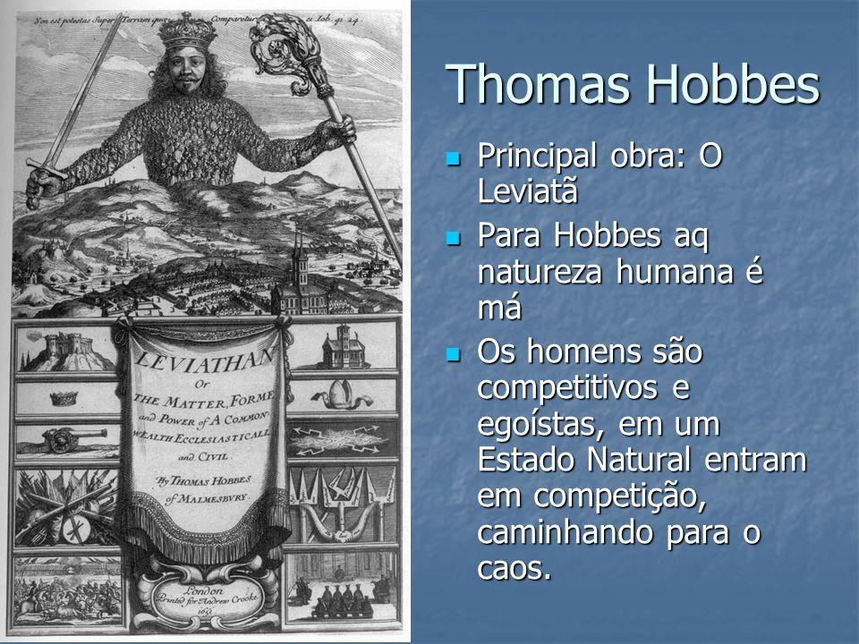 Thomas Hobbes Principal obra: O Leviatã Principal obra: O Leviatã Para Hobbes aq natureza humana é má Para Hobbes aq natureza humana é má Os homens sã