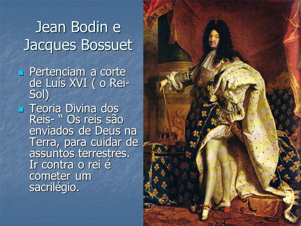 Jean Bodin e Jacques Bossuet Pertenciam a corte de Luís XVI ( o Rei- Sol) Pertenciam a corte de Luís XVI ( o Rei- Sol) Teoria Divina dos Reis- Os reis