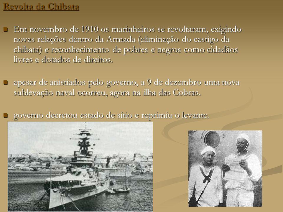 Revolta da Chibata Revolta da Chibata Em novembro de 1910 os marinheiros se revoltaram, exigindo novas relações dentro da Armada (eliminação do castigo da chibata) e reconhecimento de pobres e negros como cidadãos livres e dotados de direitos.
