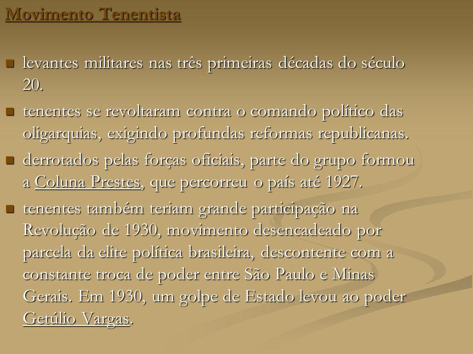 Movimento Tenentista Movimento Tenentista levantes militares nas três primeiras décadas do século 20.