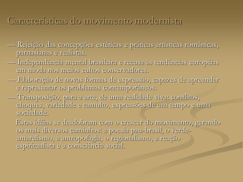 Características do movimento modernista Rejeição das concepções estéticas e práticas artísticas românicas, parnasianas e realistas.