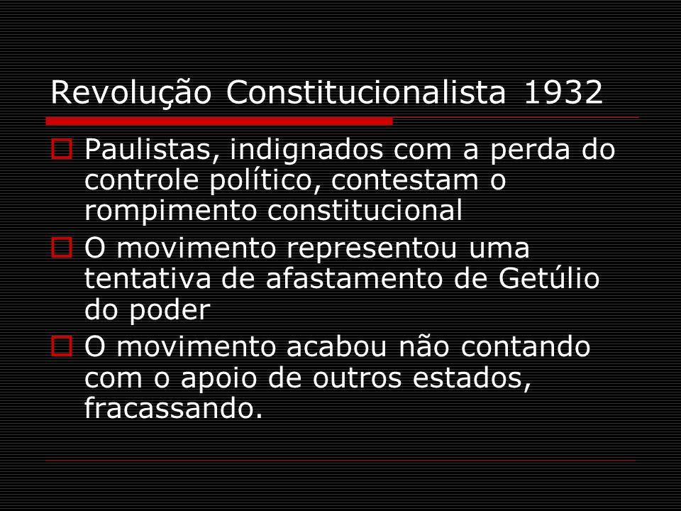 Revolução Constitucionalista 1932 Paulistas, indignados com a perda do controle político, contestam o rompimento constitucional O movimento represento