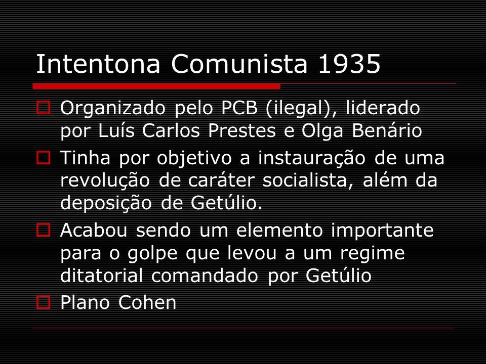 Intentona Comunista 1935 Organizado pelo PCB (ilegal), liderado por Luís Carlos Prestes e Olga Benário Tinha por objetivo a instauração de uma revoluç