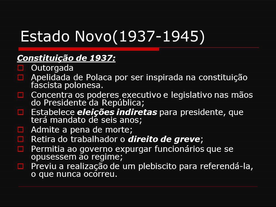 Estado Novo(1937-1945) Constituição de 1937: Outorgada Apelidada de Polaca por ser inspirada na constituição fascista polonesa. Concentra os poderes e