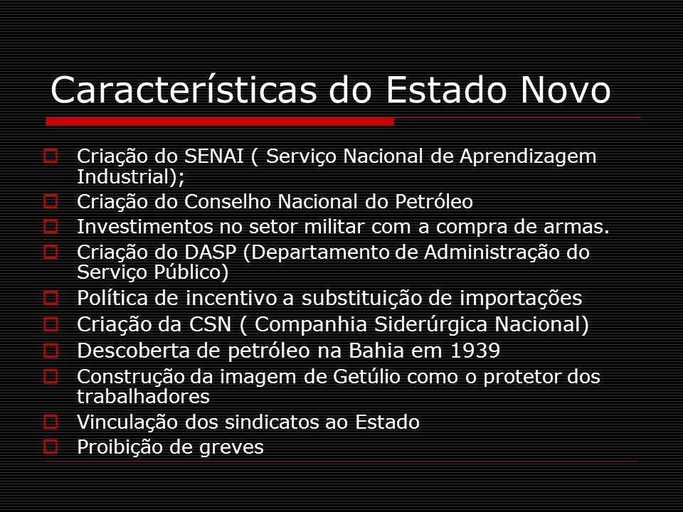 Características do Estado Novo Criação do SENAI ( Serviço Nacional de Aprendizagem Industrial); Criação do Conselho Nacional do Petróleo Investimentos