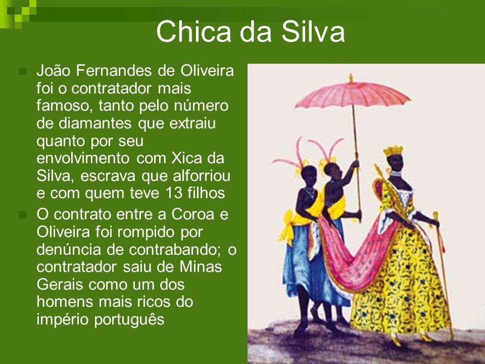 Chica da Silva João Fernandes de Oliveira foi o contratador mais famoso, tanto pelo número de diamantes que extraiu quanto por seu envolvimento com Xi
