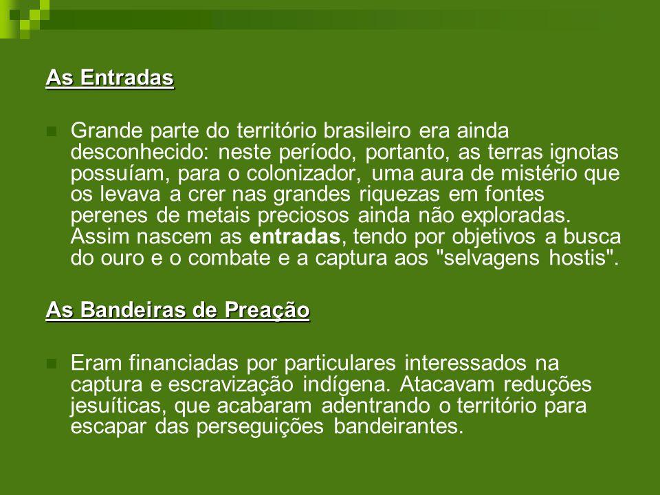 As Entradas Grande parte do território brasileiro era ainda desconhecido: neste período, portanto, as terras ignotas possuíam, para o colonizador, uma