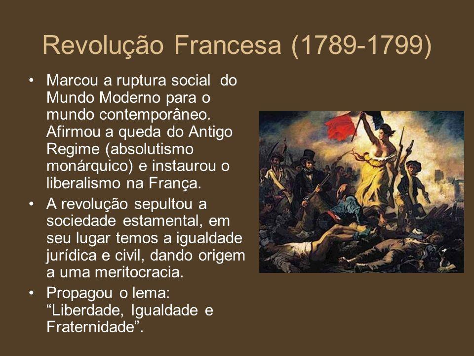 Revolução Francesa (1789-1799) Marcou a ruptura social do Mundo Moderno para o mundo contemporâneo. Afirmou a queda do Antigo Regime (absolutismo moná