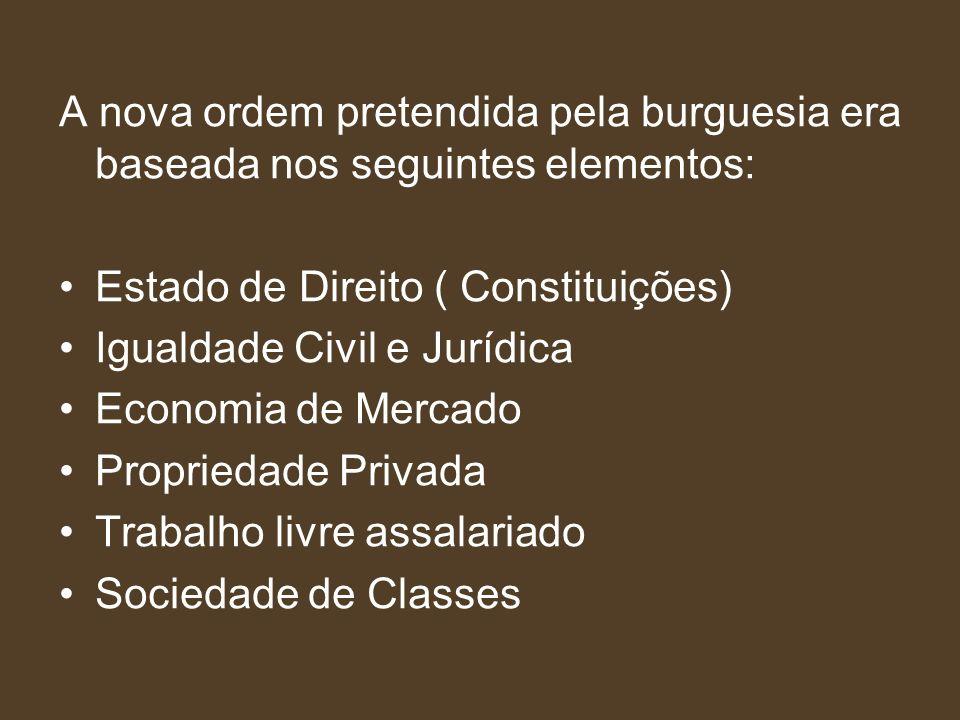 A nova ordem pretendida pela burguesia era baseada nos seguintes elementos: Estado de Direito ( Constituições) Igualdade Civil e Jurídica Economia de