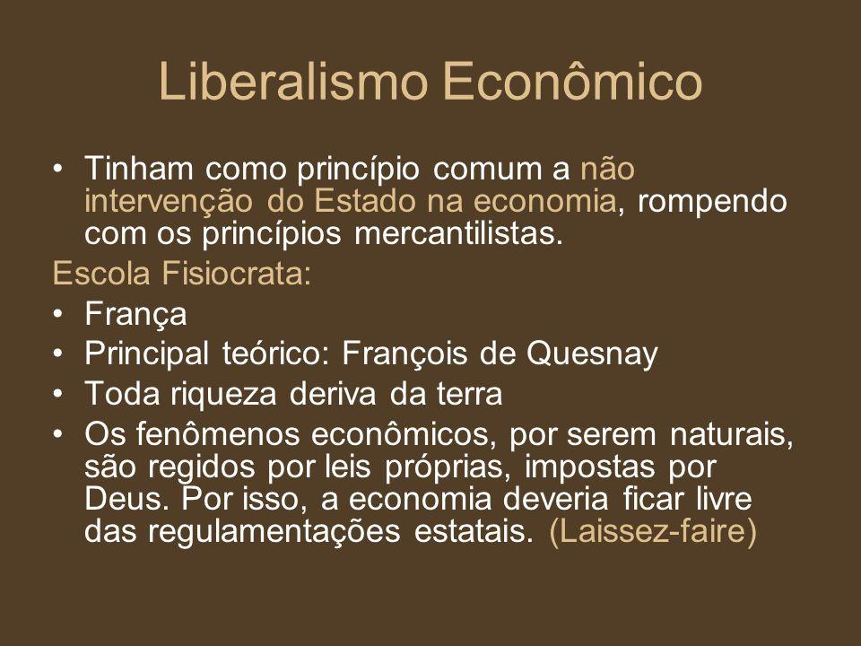 Liberalismo Econômico Tinham como princípio comum a não intervenção do Estado na economia, rompendo com os princípios mercantilistas. Escola Fisiocrat
