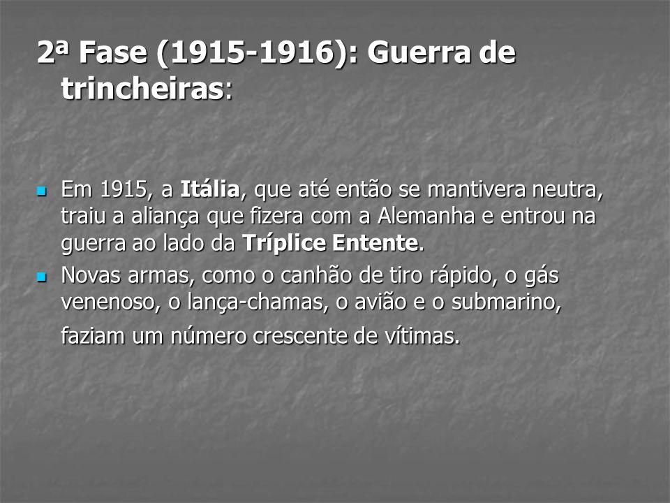 2ª Fase (1915-1916): Guerra de trincheiras: Em 1915, a Itália, que até então se mantivera neutra, traiu a aliança que fizera com a Alemanha e entrou n