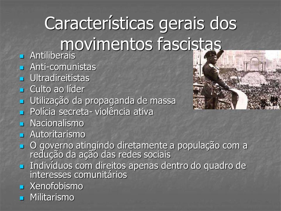 Características gerais dos movimentos fascistas Antiliberais Antiliberais Anti-comunistas Anti-comunistas Ultradireitistas Ultradireitistas Culto ao l