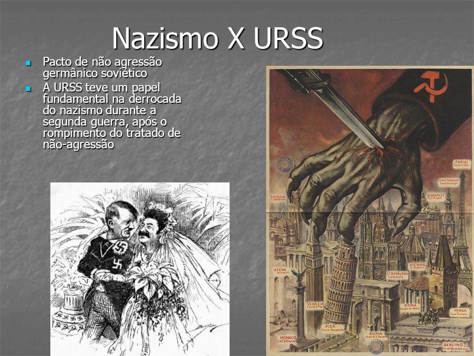 Nazismo X URSS Pacto de não agressão germânico soviético Pacto de não agressão germânico soviético A URSS teve um papel fundamental na derrocada do na