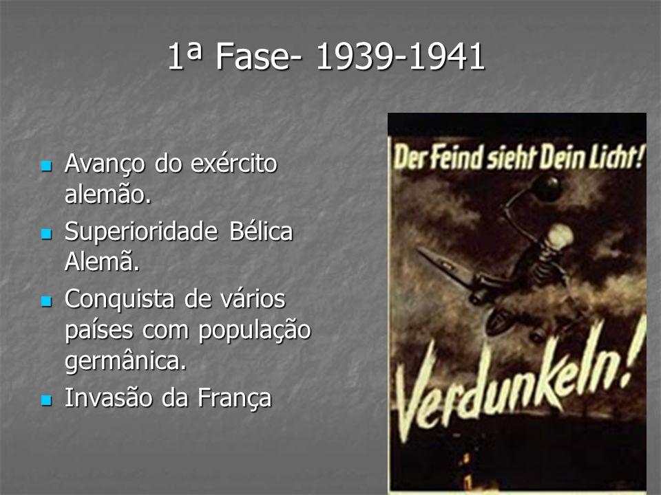 1ª Fase- 1939-1941 Avanço do exército alemão. Avanço do exército alemão. Superioridade Bélica Alemã. Superioridade Bélica Alemã. Conquista de vários p