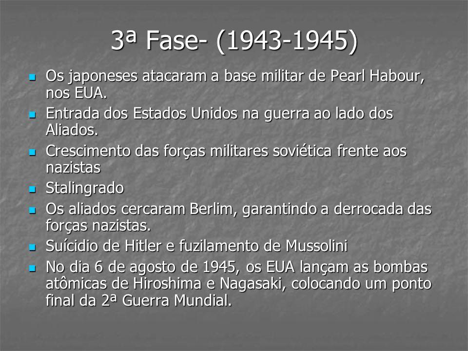 3ª Fase- (1943-1945) Os japoneses atacaram a base militar de Pearl Habour, nos EUA. Os japoneses atacaram a base militar de Pearl Habour, nos EUA. Ent