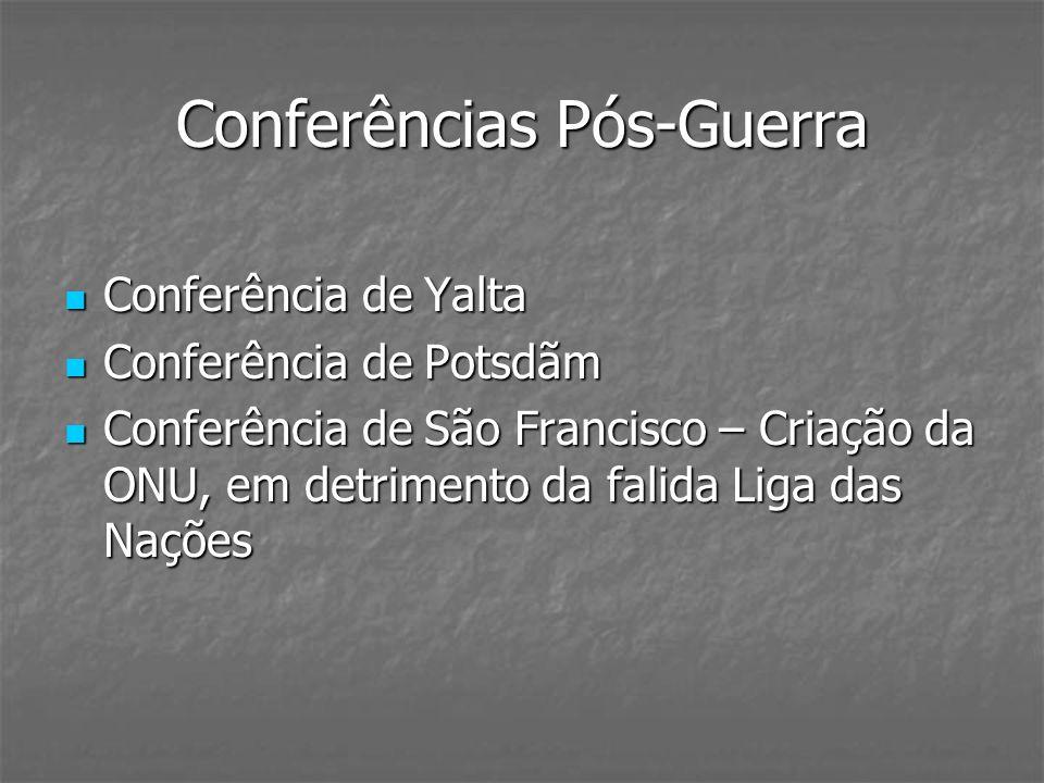 Conferências Pós-Guerra Conferência de Yalta Conferência de Yalta Conferência de Potsdãm Conferência de Potsdãm Conferência de São Francisco – Criação