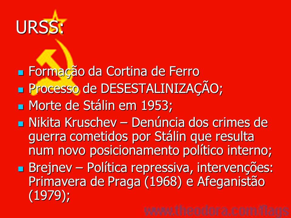 URSS: Formação da Cortina de Ferro Formação da Cortina de Ferro Processo de DESESTALINIZAÇÃO; Processo de DESESTALINIZAÇÃO; Morte de Stálin em 1953; M