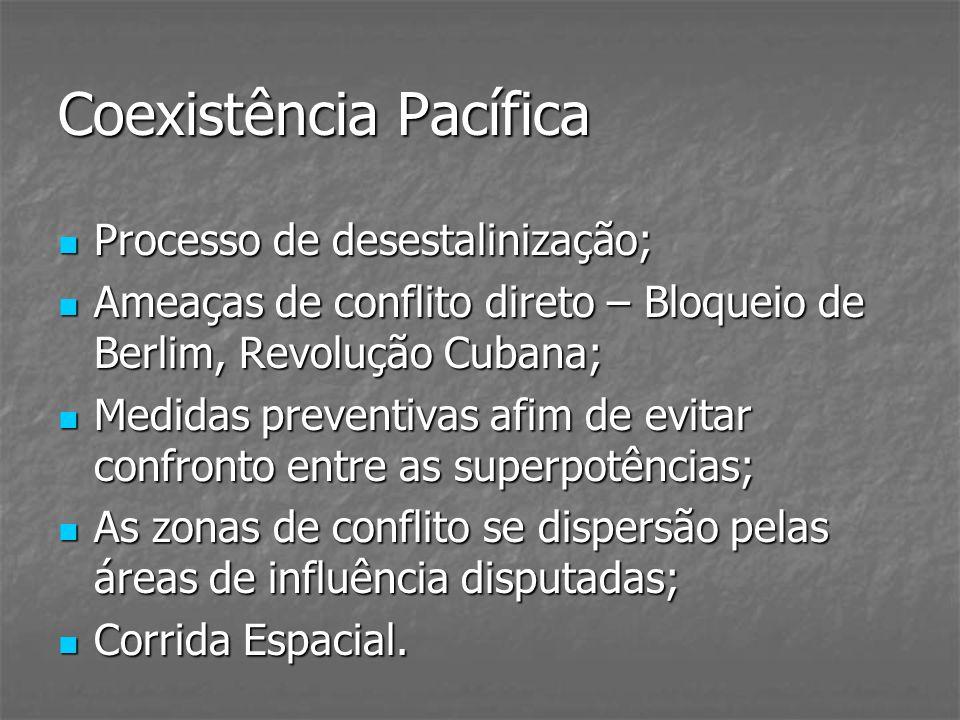 Coexistência Pacífica Processo de desestalinização; Processo de desestalinização; Ameaças de conflito direto – Bloqueio de Berlim, Revolução Cubana; A