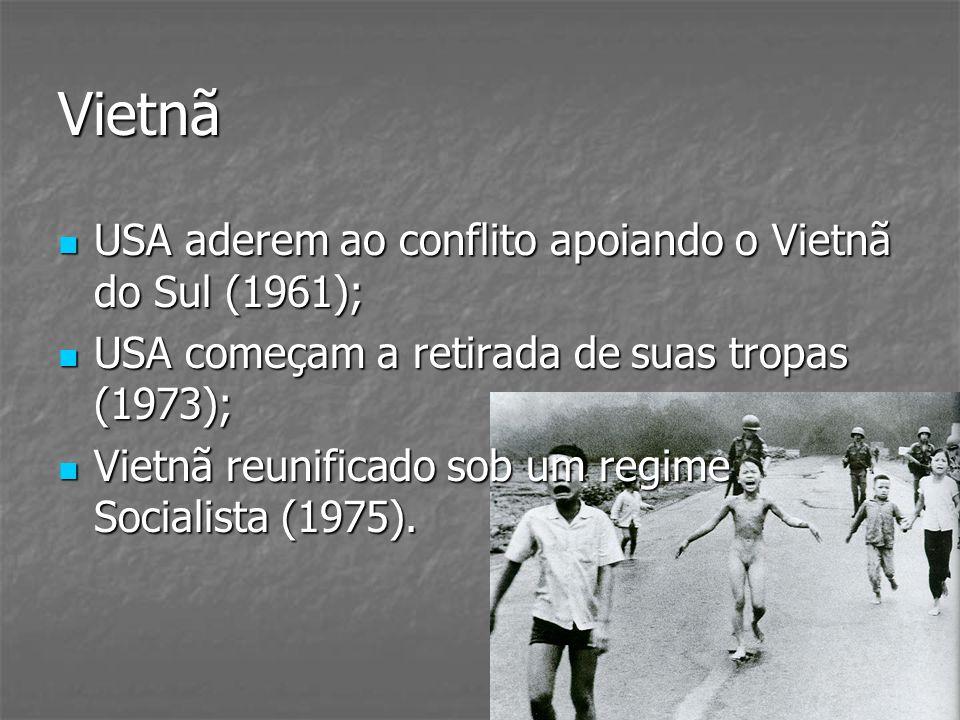 Vietnã USA aderem ao conflito apoiando o Vietnã do Sul (1961); USA aderem ao conflito apoiando o Vietnã do Sul (1961); USA começam a retirada de suas