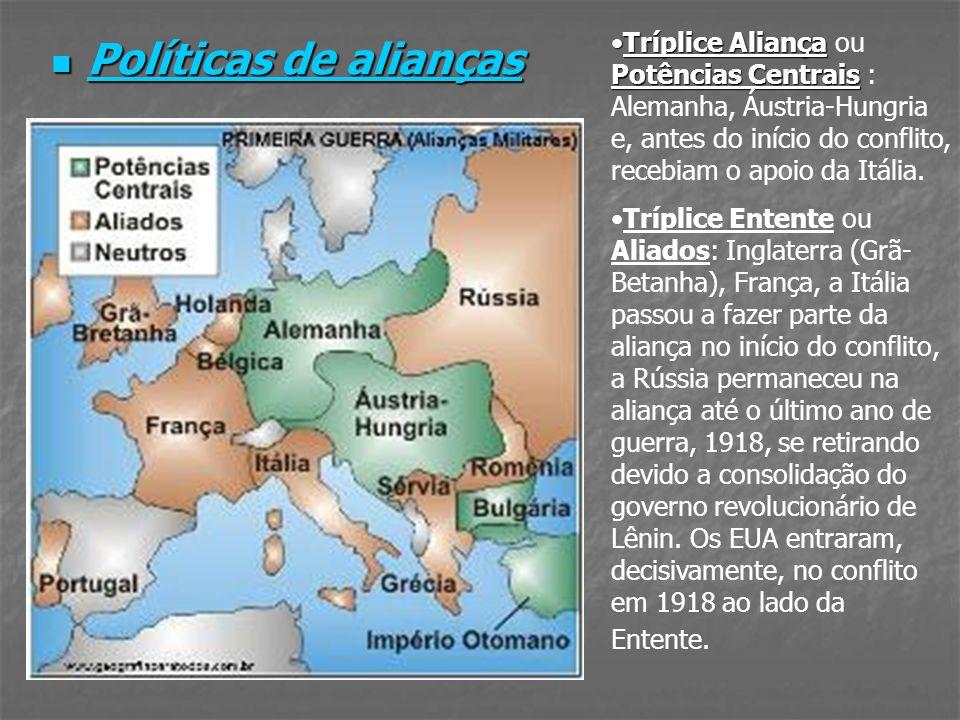 Políticas de alianças Políticas de alianças Tríplice Aliança Potências CentraisTríplice Aliança ou Potências Centrais : Alemanha, Áustria-Hungria e, a